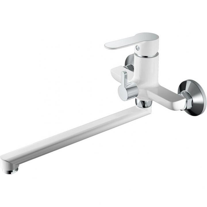 НВ22557-8 Смеситель однорычажный для ванны с длинным изливом белый/хром