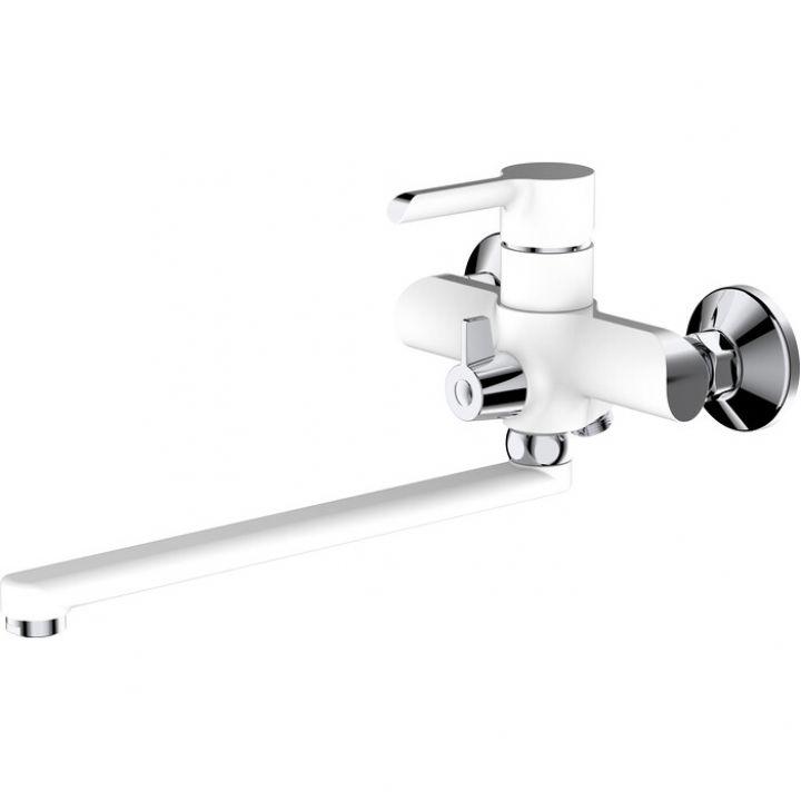 НВ22805-8 Смеситель однорычажный для ванны с длинным изливом белый/хром
